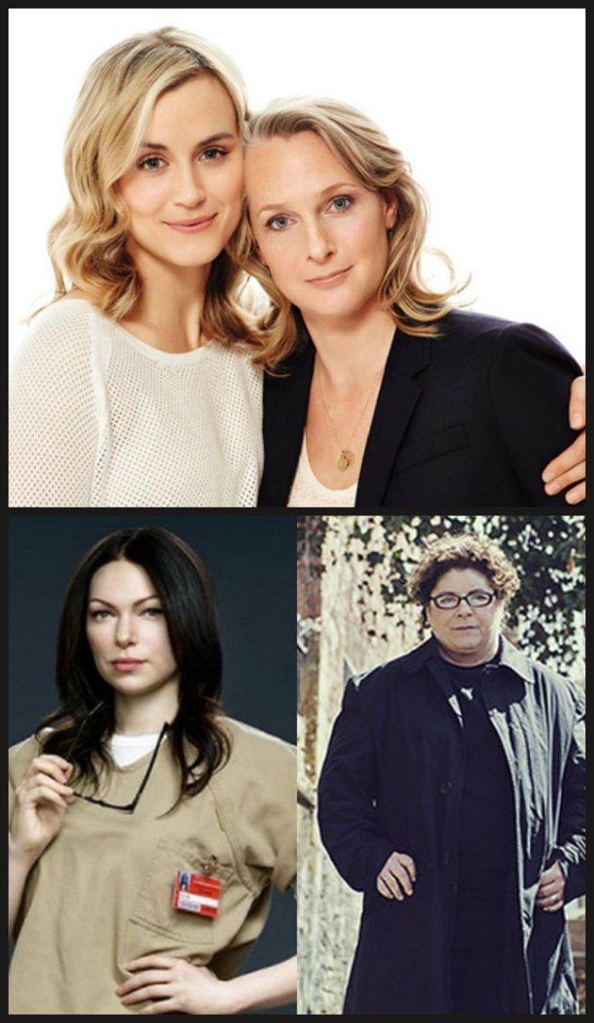 Taylor Schilling, a intérprete de Piper Chapman, e a Piper real (acima), e Laura Prepon no papel de Alex Vause, e a Alex da vida real.
