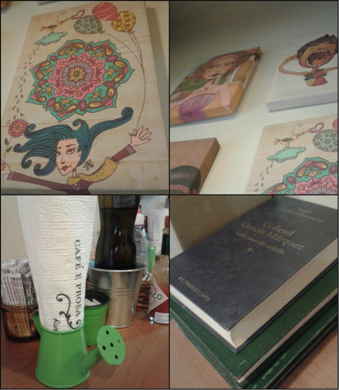 Os quadros do Jasmim Manga (acima), o regador porta-guardanapo fofo e os livros que são oferecidos aos clientes. Detalhes que fazem a diferença.