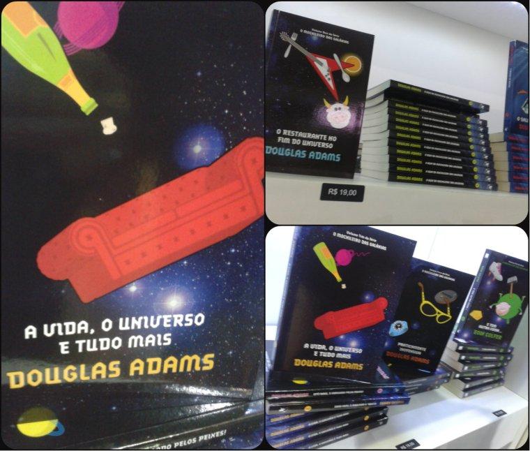 A coleção completa do Guia do mochileiro das galáxias no estande da editora Arqueiro.